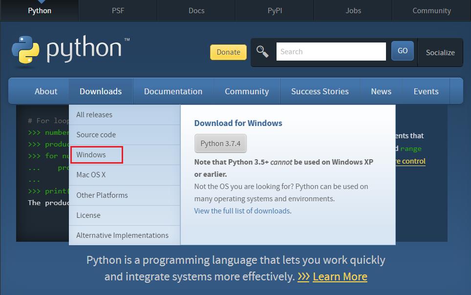 Pythonダウンロード画面からWindows版選択