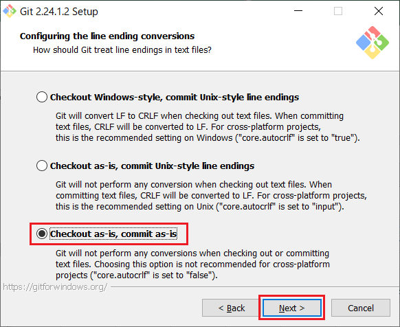 Install of Git for Windows -10